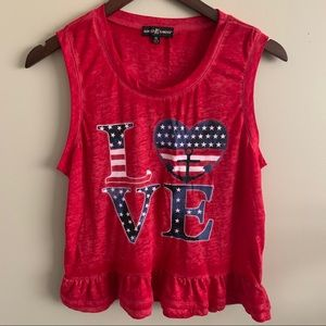 """🦉 / Almost Famous Red """"LOVE"""" Patriotic Tank Sz XL"""